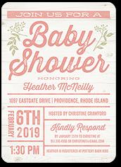 arrival grid girl baby shower invitation 5x7 flat