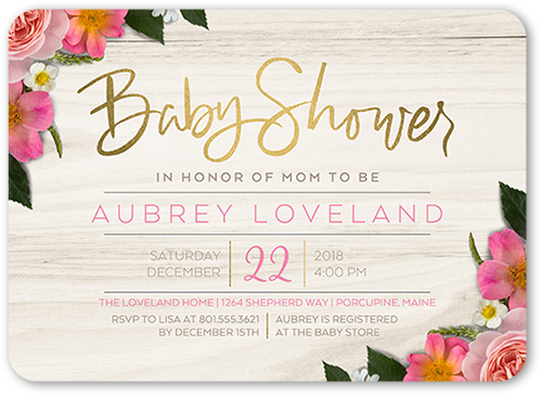 Fabulous Floral Arrival Baby Shower Invitation, Rounded Corners