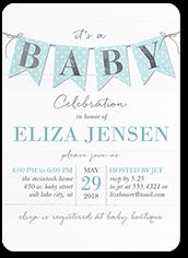 cute pennant boy baby shower invitation 5x7 flat
