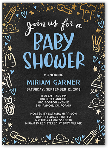 Doodle Border Boy Baby Shower Invitation, Square Corners