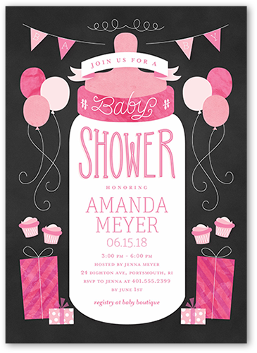 Simple Bottle Girl Baby Shower Invitation, Square Corners