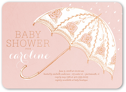 Umbrella Arrival Baby Shower Invitation, Rounded Corners