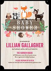 sweet animals girl baby shower invitation 5x7 flat