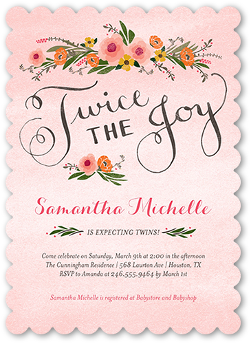 twice the joy baby shower invitation