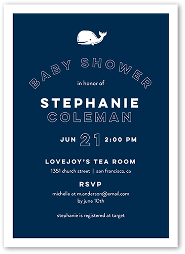Tiny Whale Baby Shower Invitation, Square Corners