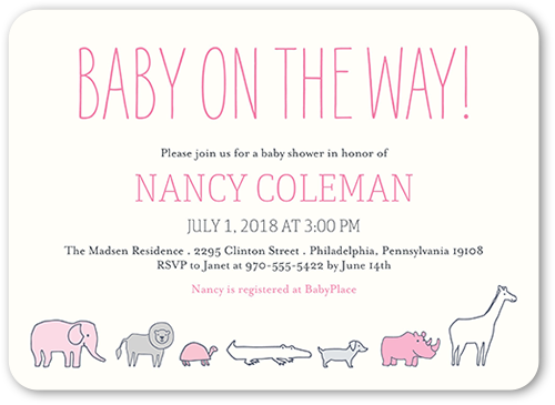 Baby Safari Girl Baby Shower Invitation, Rounded Corners