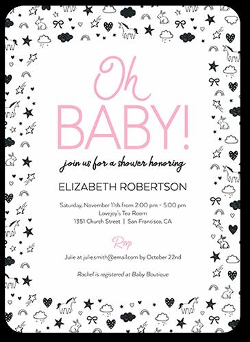 Unicorn Border Baby Shower Invitation, Rounded Corners