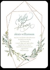geometric floral frame baby shower invitation
