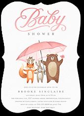 umbrella friends baby shower invitation