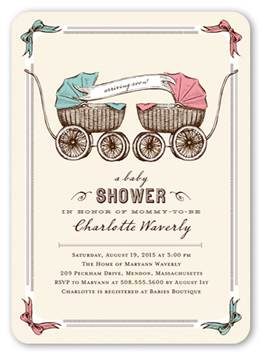 Precious Pram Twins Baby Shower Invitation, Rounded Corners