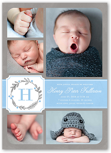 Wreath Monogram Boy Birth Announcement, Square Corners