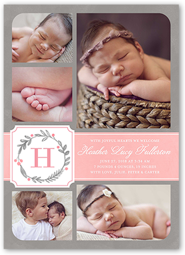 Wreath Monogram Girl Birth Announcement