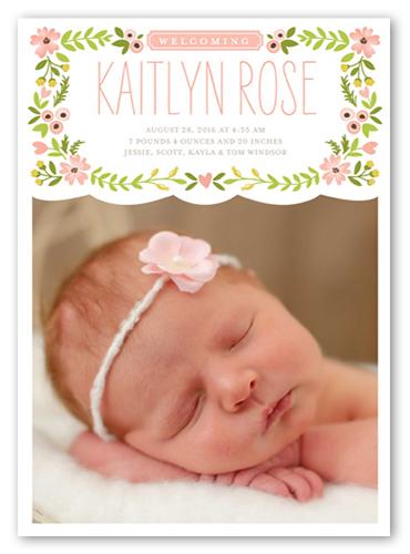 english garden 5x7 girl birth announcement card shutterfly