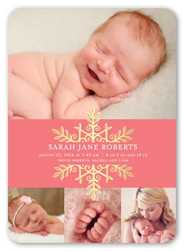 Snowflake Name Girl Birth Announcement, Rounded Corners