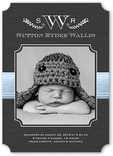 Vine And Monogram Boy Birth Announcement
