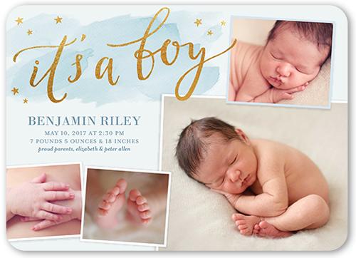 Twinkling Little Stars Boy Birth Announcement