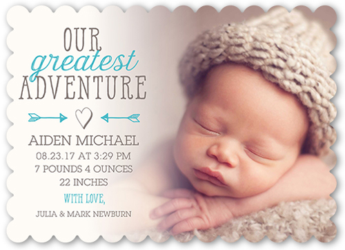 Greatest Adventure Boy Personalized Birth Announcements – Boy Birth Announcement