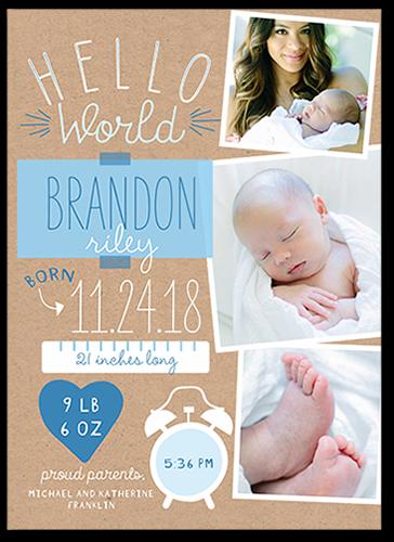 Hello World Boy Birth Announcement