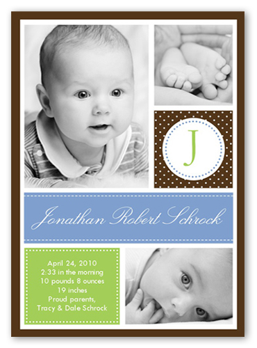 Baby Chic Blue Birth Announcement