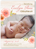 floral introduction birth announcement 5x7 flat