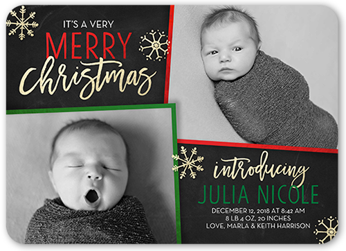Very Merry Arrival Birth Announcement
