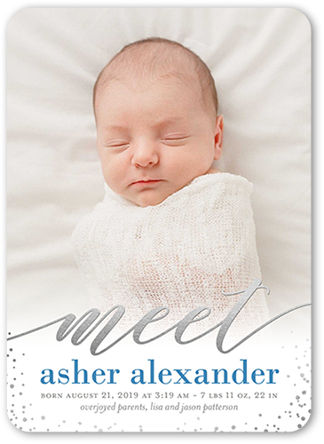 Delicate Introduction Boy Birth Announcement, Rounded Corners