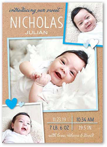 Whimsy Framed Boy Birth Announcement, Square Corners