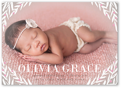 Blissful Laurel Frame Girl Birth Announcement