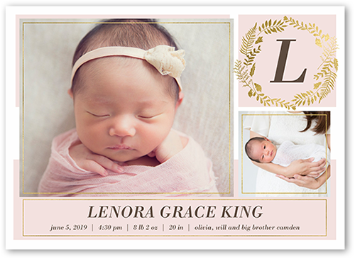 Modern Foliage Girl Birth Announcement, Square Corners