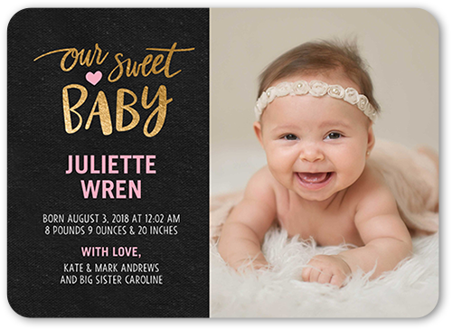 Our Sweet Baby Girl Birth Announcement, Rounded Corners