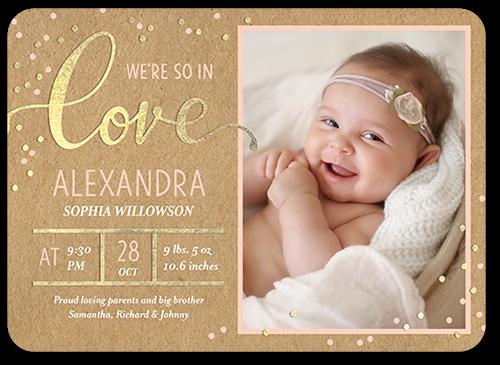 Loving Confetti Girl Birth Announcement, Rounded Corners