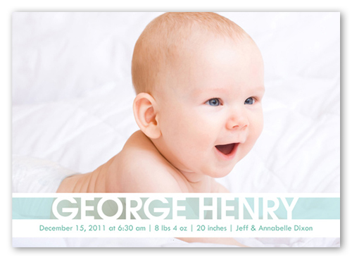 Announcing Baby Boy Birth Announcement, Square Corners