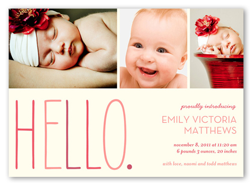 hello baby girl birth announcement 5x7 birth announcements by other