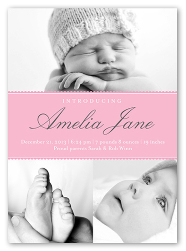 Modern Introduction Girl Birth Announcement, Square Corners
