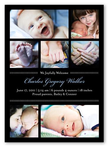 Picture Frames Blue Birth Announcement, Square Corners
