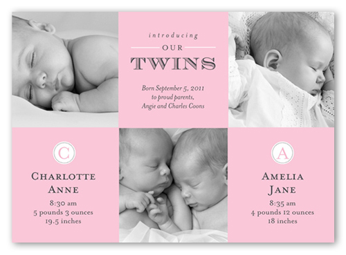 Seeing Double Girls 5x7 Stationery Card by Blonde Designs – Birth Announcements Shutterfly