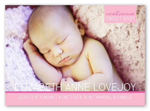 Sweet Baby Girl Birth Announcement, Square Corners