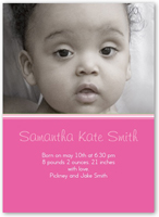 simply pink birth announcement 5x7 flat