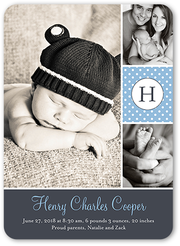Sweet Dotted Boy Birth Announcement, Rounded Corners