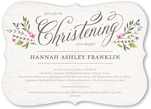 5x7 Blessed Branches Girl Baptism Invitation
