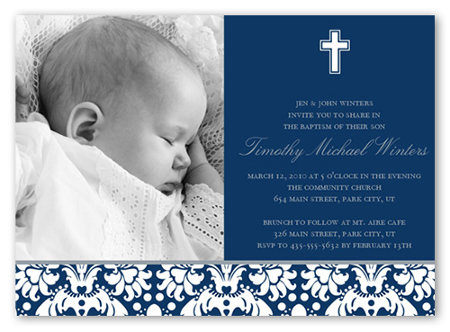 Baptism Baroque Navy Invitation | Baptism Invitations ...