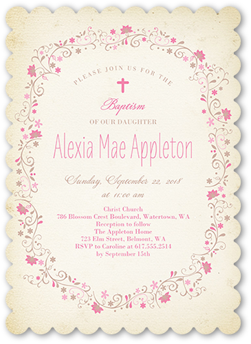 5x7 Circled In Flowers Christening Invitation