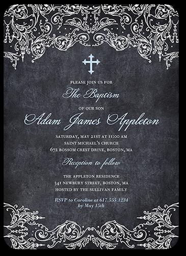 Divine Chalk Boy 5x7 Christening Invitations
