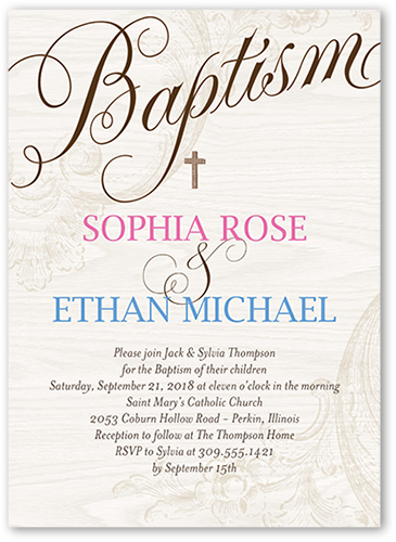 Bonded Christening Baptism Invitation, Square Corners