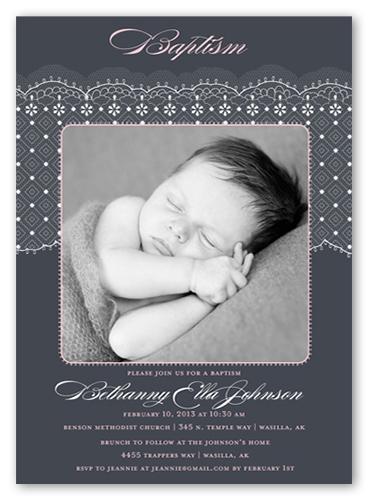 elegant lace girl invitation baptism invitations shutterfly