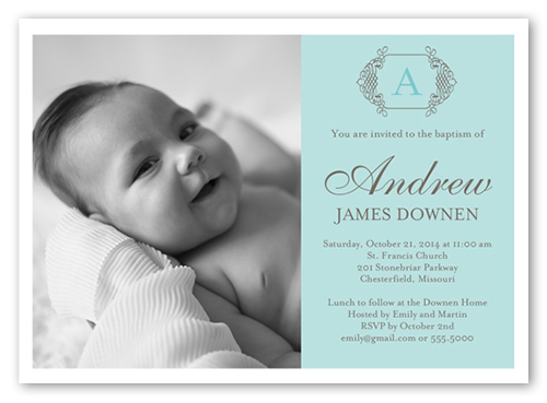 Vintage Monogram Boy 5x7 Invitation Baptism Invitations Shutterfly