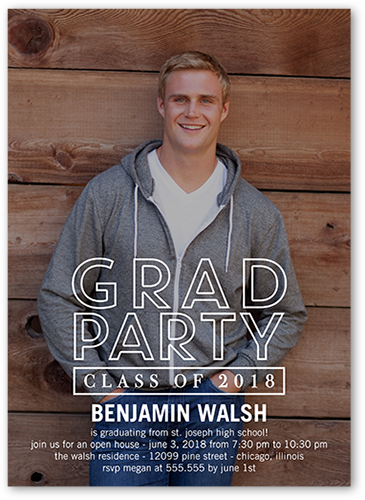 Modern Party Graduation Invitation, Square Corners