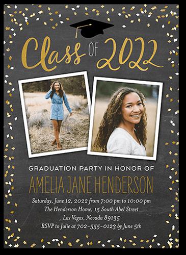 Chalked Confetti Class 5x7 Graduation Party Invitations
