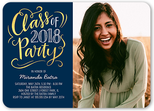 Class Party Graduation Invitation, Rounded Corners