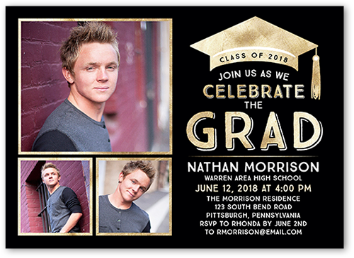 Bold Class Collage Graduation Invitation, Square Corners